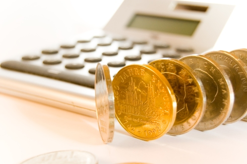 """Gold Coins and Calculator """"Image"""""""